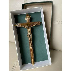NEW Gold Wood Jeweled Cross Co Wall Jesus Christ